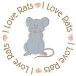 Sweet I Love Rats Grey T-shirts Gifts