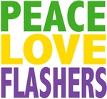 Peace Love Flashers Mardi Gras Tees Gifts