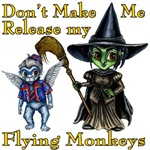 Don't Make Me Release my Flying Monkeys is the cute quote on the Wonderful Wizard of Oz inspired design.  With an anime inspired Flying Monkey minion and the Wicked Witch of the West this great Wizard of Oz gift is perfect for those cute yet evil people.