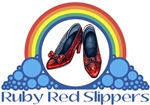 Ruby Red Slippers and Over the Rainbow from the Wonderful Wizard of Oz with the quote: Ruby Red Slippers