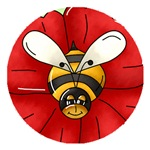 Bee On Red Flower Buttons, Stickers And Magnets