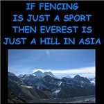 a funny fencing joke on gifts and t-shirts.