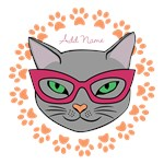 Custom Name Chic Retro Cat