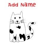 Personalized Name Black and White Cat