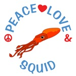Peace Love Squid Shirts