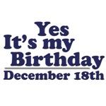 December 18th Birthday T-Shirts & Gifts