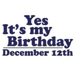 December 12th Birthday T-Shirts & Gifts