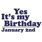 January 2nd Birthday T-Shirts & Gifts