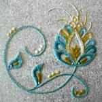 Gold Turquoise Jacobean Embroidery