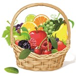 Fruit Basket with Grapes