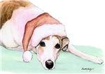 Greyhound in Santa Hat