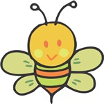 Adorable baby bee in greens, oranges, and golds.