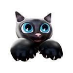 Cute Kitty Cartoon with Blue Eyes - 3D