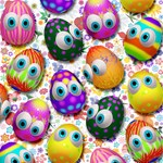 Cute Easter Eggs Cartoon Pattern