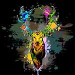 Deer PopArt Dripping Paint