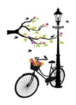 bicyle with tree and lamp
