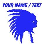 Custom Blue Indian Headdress Outline