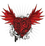 Red Flourish Heart With Wings
