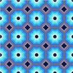 Bright Blue Expanding Octagon Pattern