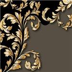 Gold and Black Leafy Flourish