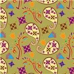 Purple, Tan, and Blue Paisley Pattern