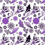 Purple Leaves and Flowers Pattern