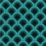 Turquoise and Black Overlapping Circles Pattern