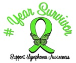 Lymphoma Survivor Years Butterfly T-Shirts & Gifts