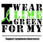 I Wear Lime Green Ribbon Lymphoma Distressed T-Shi