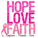 Hope, Love & Faith Breast Cancer Shirts & Gifts