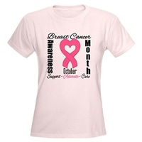 Breast Cancer Month Heart Ribbon Shirts