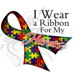 For My Heroes Autism Ribbon Shirts and Gifts
