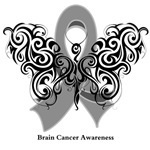Brain Cancer Tribal Butterfly Shirts