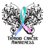Butterfly Floral Thyroid Cancer Shirts