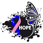 Hope Grunge Butterfly Male Breast Cancer Shirts