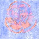 Orange Damask Flower on Blue Stone