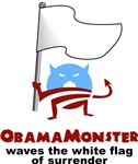 Obama Monster Waves White Flag of Surrender