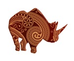 Rhinoceros silhouette Paisley