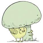 Chick under Mushroom