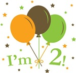 Retro Balloons I'm 2 Second Birthday T-Shirts