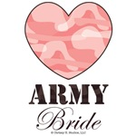 Army Bride Brown Pink Camo Heart