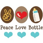 Peace Love Bottle Blue Brown Baby Boy