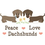 Peace Love Dachshunds Art T-shirt Tees Gifts