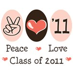 Peace Love Class of 2011 Senior T-shirts Tees Gift