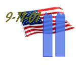 9-11 with Flag and Blue Light Buildings