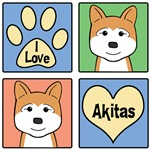 I Love Akitas (Red Akitas)