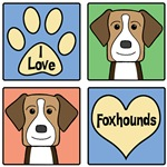 I Love American Foxhounds (Tri-Color)