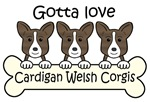 Three Brindle Cardigan Welsh Corgis