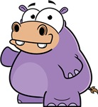 Cartoon Purple Hippo