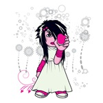 cute emo girl holding heart vector art